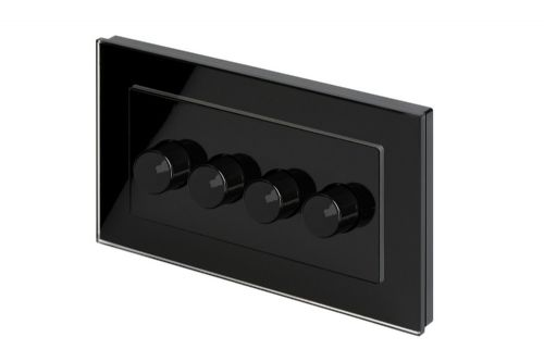 RetroTouch 4 Gang 2 Way Dimmer Switch 3-200W LED & Halogen Black Glass PG 02103